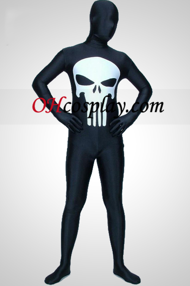 Черно Punisher Lycra Зентай Suit
