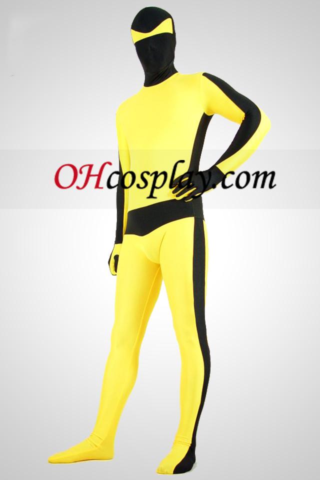 Gul og sort Bruce Lee Lycra Spandex Unisex Zentai Suit