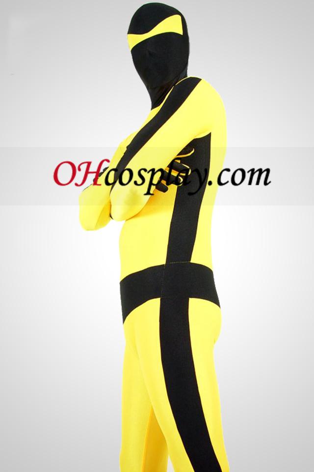 Жълто и Черно Bruce Lee Lycra Spandex Унисекс Зентай Suit