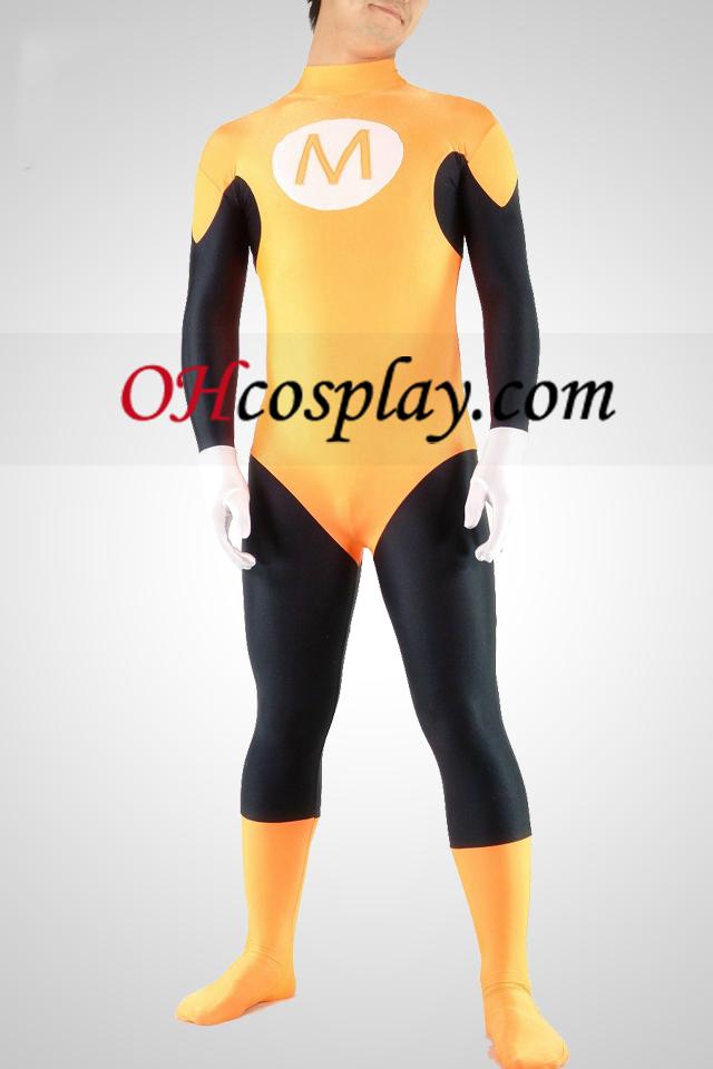 Gul og sort Lycra Spandex Superhero Unisex catsuit