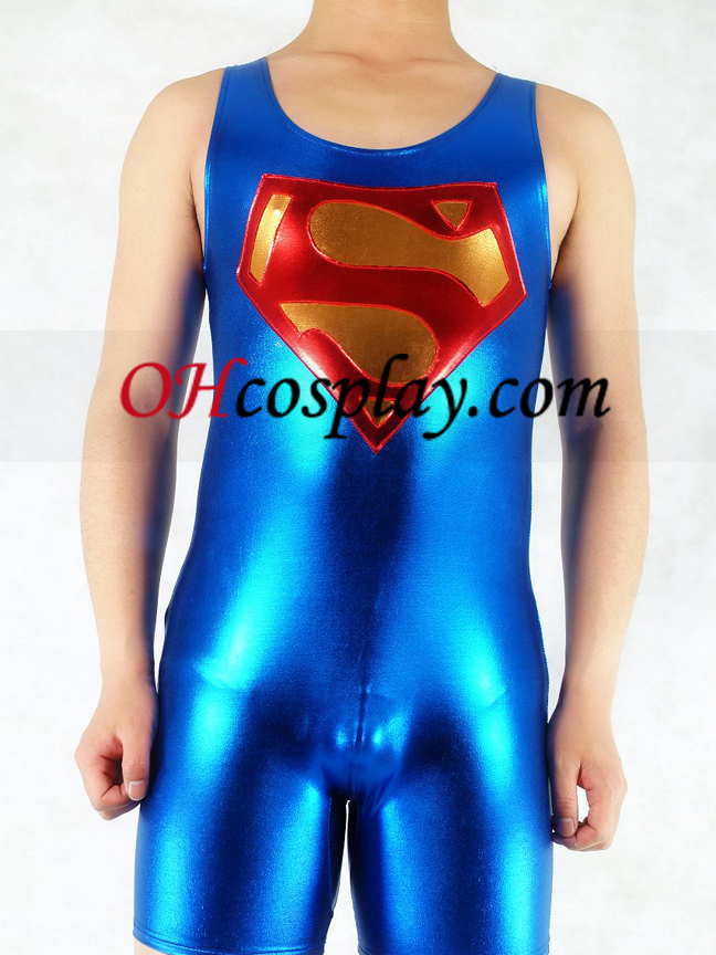 Rouge et bleu métallique brillant Superman Superhero Zentai Suit