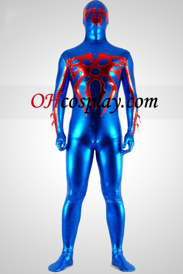 Shiny Metallic Blue e Red Spider Superhero Zentai Suit