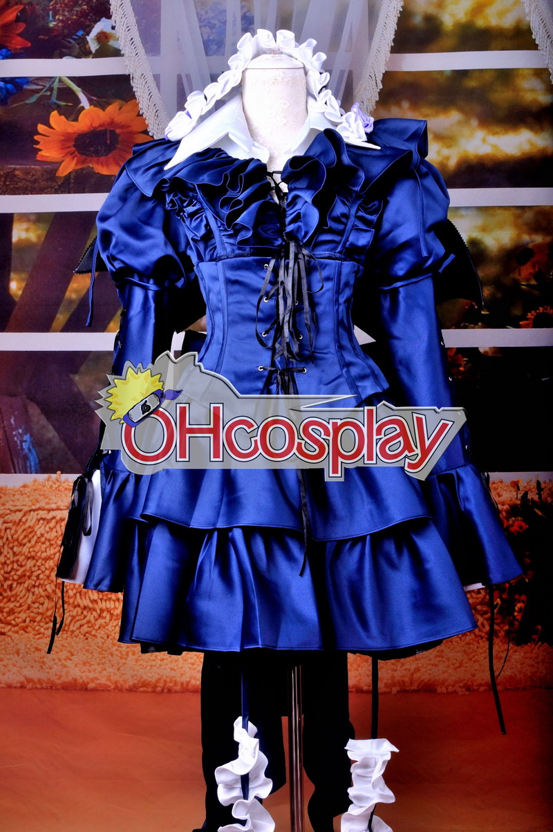 Pandora Hearts Costumes-Bloodied Black Rabbit Gothic lolita Cosplay Costume