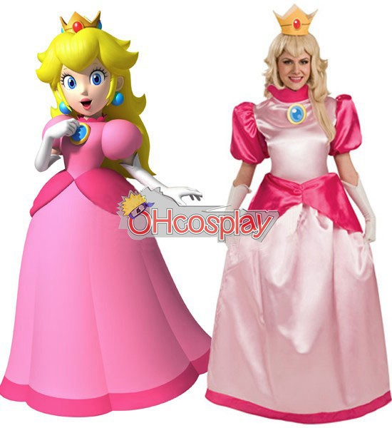 Super Mario Costumes Bros Princess Peach Adult Cosplay Costume