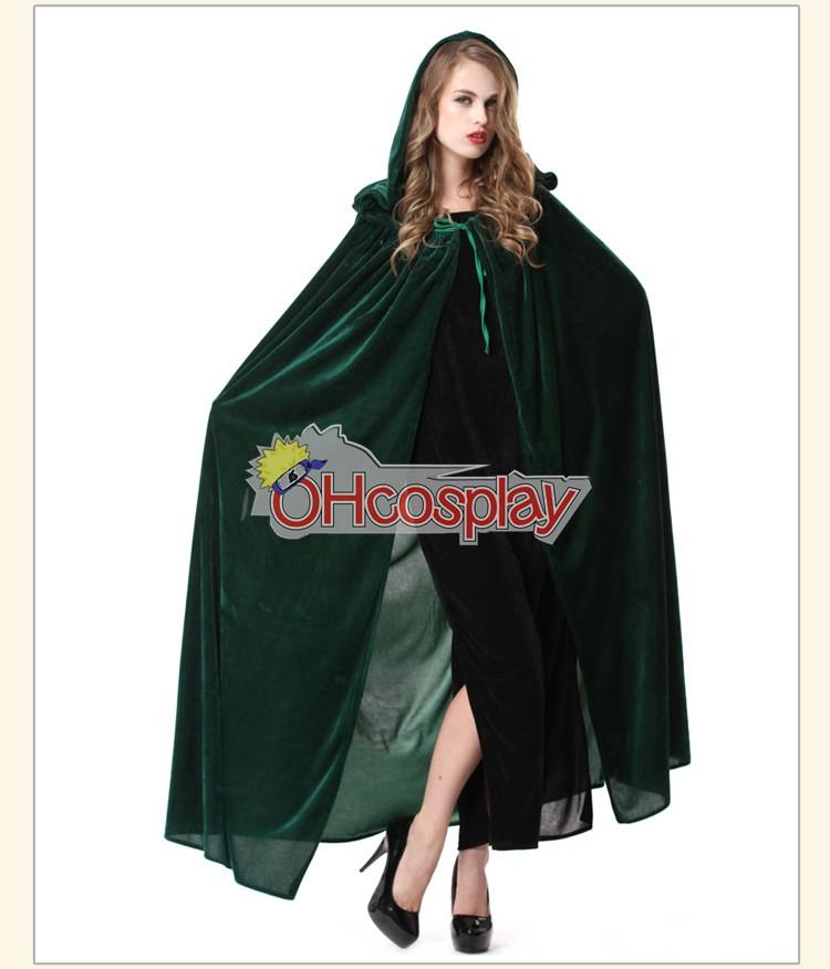 Holloween Witch Cosplay Green Cloak