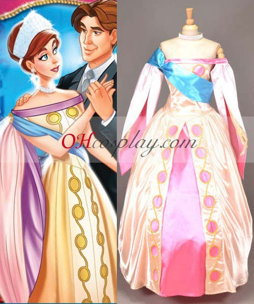 Anastasia Princess Dress Cosplay Kostymer + Jewelry