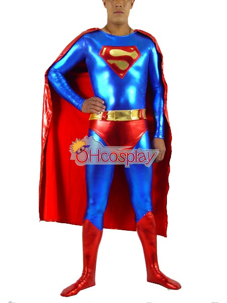 DC Superman Classic Shiny Red Cosplay Karneval Kläder