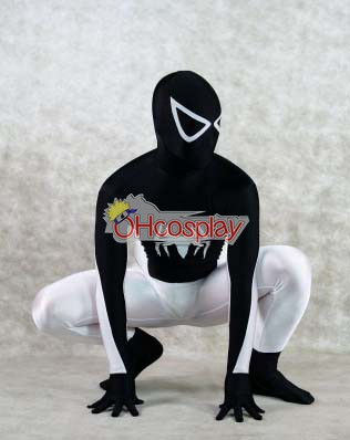 Marvel Karneval Kläder Spiderman Black and White Cosplay Karneval Kläder
