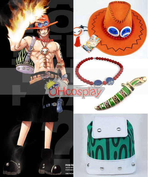 One Piece Costume Portgas D Ace Cosplay Bag+Knife