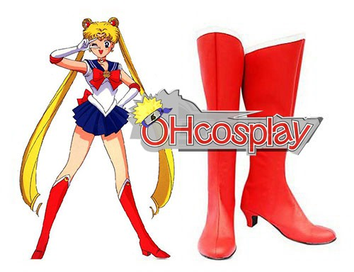 Sailor Moon Karneval Kläder Usagi Tsukino Red Cosplay Stövlar