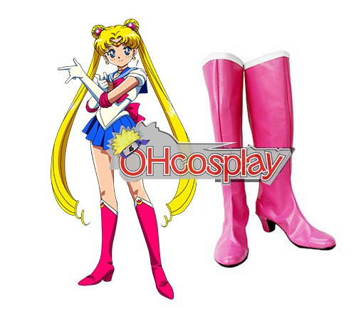 Costumi Carnevale Sailor Moon Tsukino Usagi Pink Stivali Cosplay