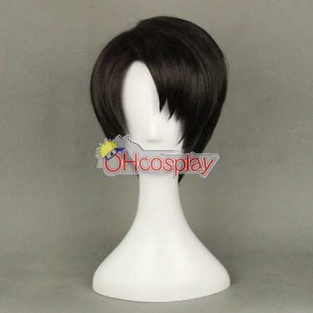 Shingeki no Kyojin (Costumi Carnevale Attack on Titan) Levi Black Cosplay Wig 320A
