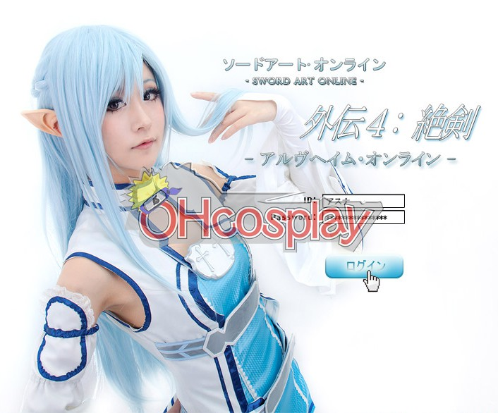 Sword Art Online Costume Asuna Blue Cosplay Wig