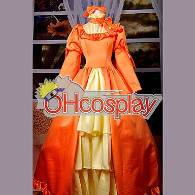 Black Bulter Elizabeth Orange Dress Cosplay Kostymer
