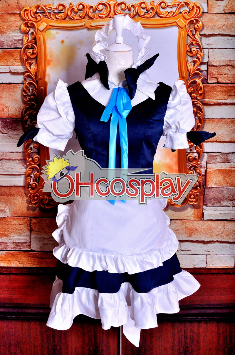 Touhou Project Kostymer Izayoi Sakuya Maid Cosplay Kostymer Deluxe Version