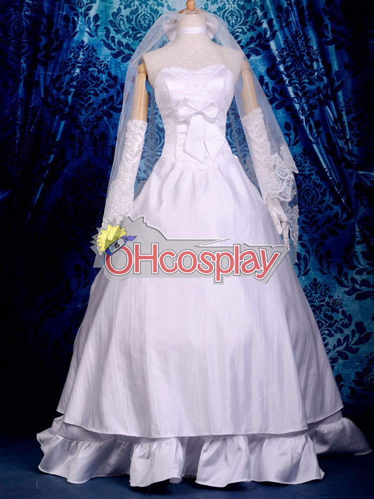 Fate Stay Night Puku Saber Wedding Dress Cosplay Puku Deluxe-P5