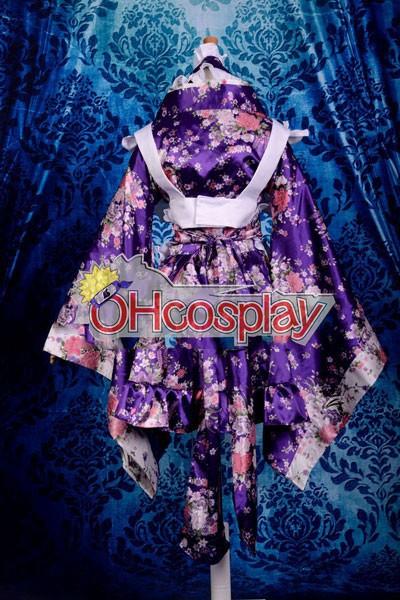 Printing Gorgeous Kimono Maid Clothing/Maid udklædning Fastelavn Kostumer