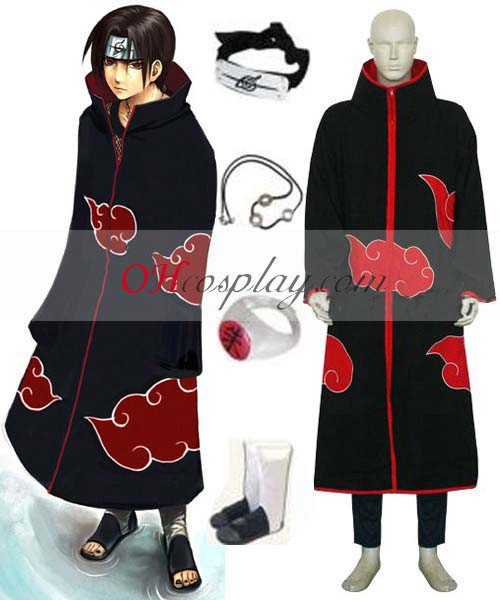 Naruto Kostüm Akatsuki Itachi Uchiha Deluxe Men's Cosplay Wiene and Accessories Set ENR0001