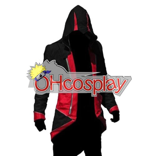 Disfraces Assassins Creed II Ezio Negro y Rojo Cosplay capucha