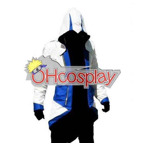 Disfraces Assassins Creed II Ezio blanco y azul de Cosplay con capucha