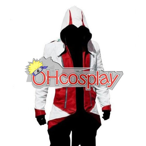 Disfraces Assassins Creed II Ezio blanco y rojo de Cosplay con capucha