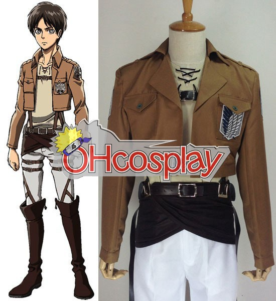 Attack on Titan Costume (Shingeki no Kyojin) Eren Jaeger Survey Crops Cosplay Costume