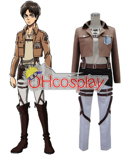 Attack on Titan Costumes Eren Survey Corps Uniform Cosplay Costume - VersionA