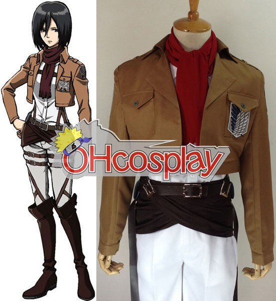 Attack on Titan Costume (Shingeki no Kyojin) Mikasa Ackerman Survey Crops Cosplay Costume