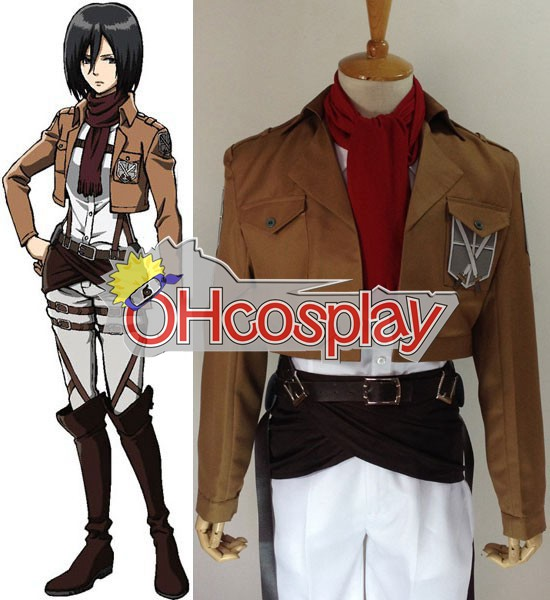 Attack on Titan Costume (Shingeki no Kyojin) Mikasa Ackerman Training Crops Cosplay Costume