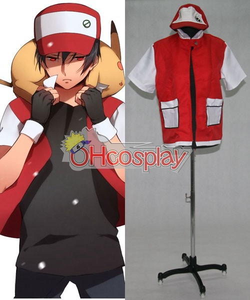 Pokemon Kostuums Ash Ketchum Red Jacket Cosplay Kostuums