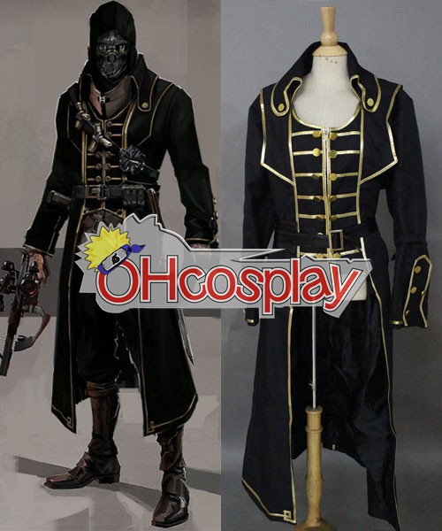 Dishonored Corvo Black Coat Cosplay Puku