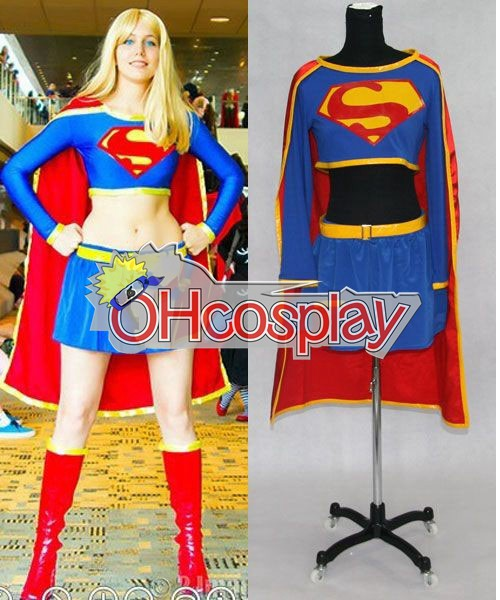 Super Girl Cosplay Karneval Kläder